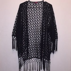 Black wrap dress cover with tassels